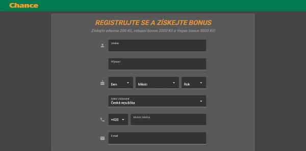 Chance ruleta registrace