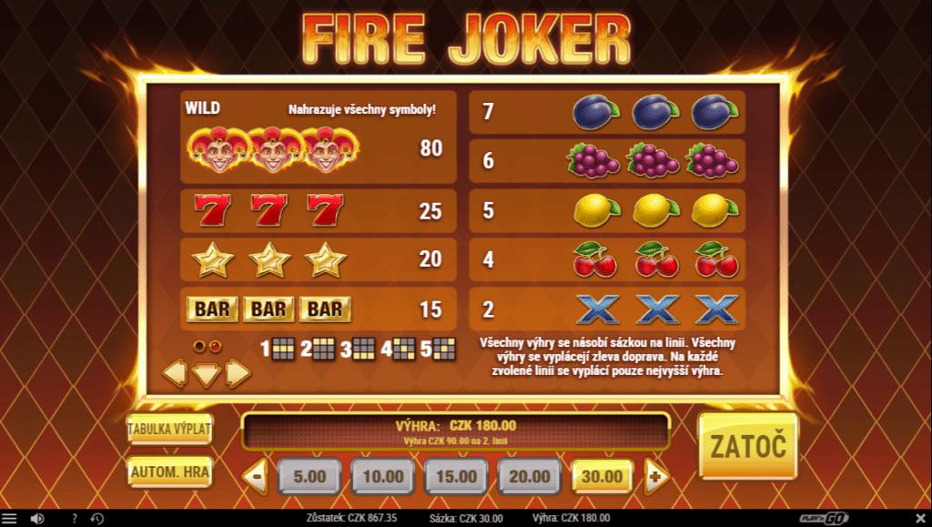 Fire Joker výhry
