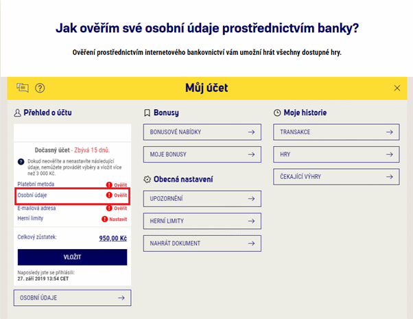 Online ověření účtu a dokončení registrace přes banku