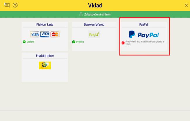 PayPal vklady do Sazka Hry